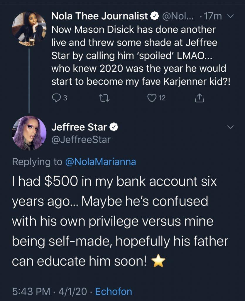 Jeffree Star Fires Back Mason Disick