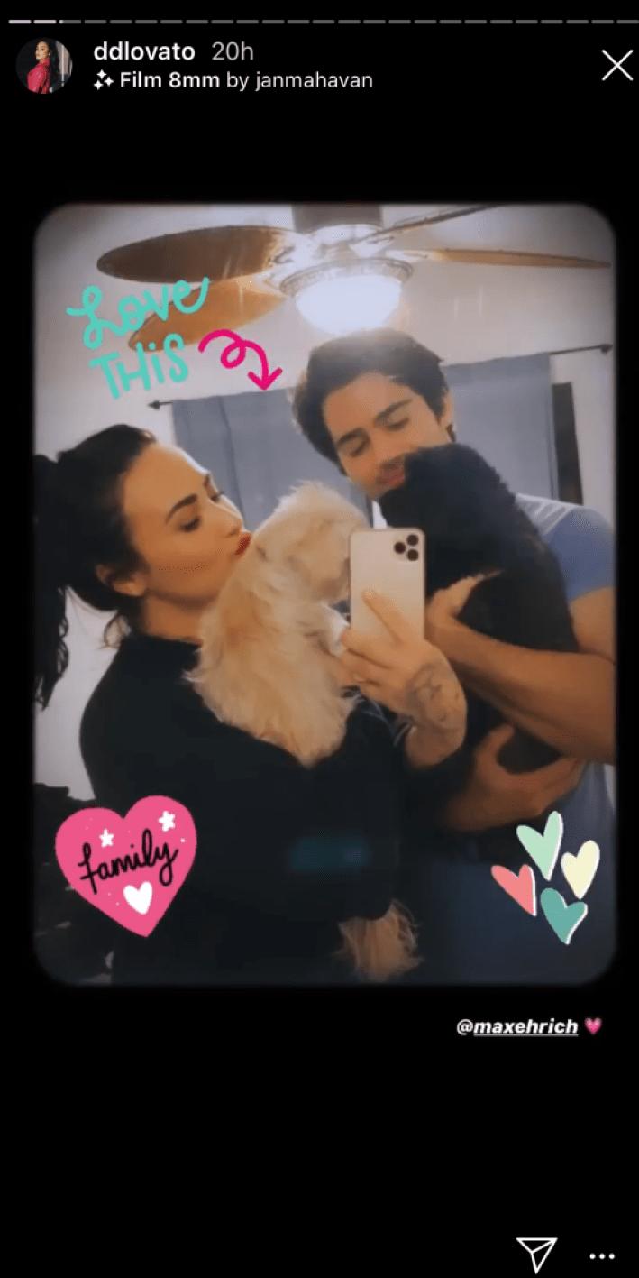 demi lovato max ehrich kissing instagam photos