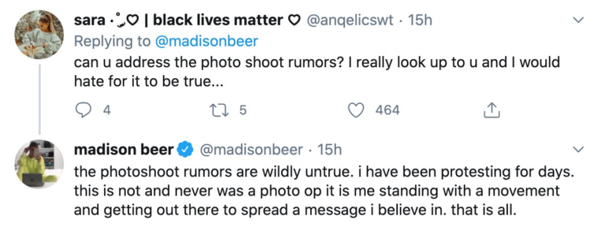 madison beer slams photo shoot rumors