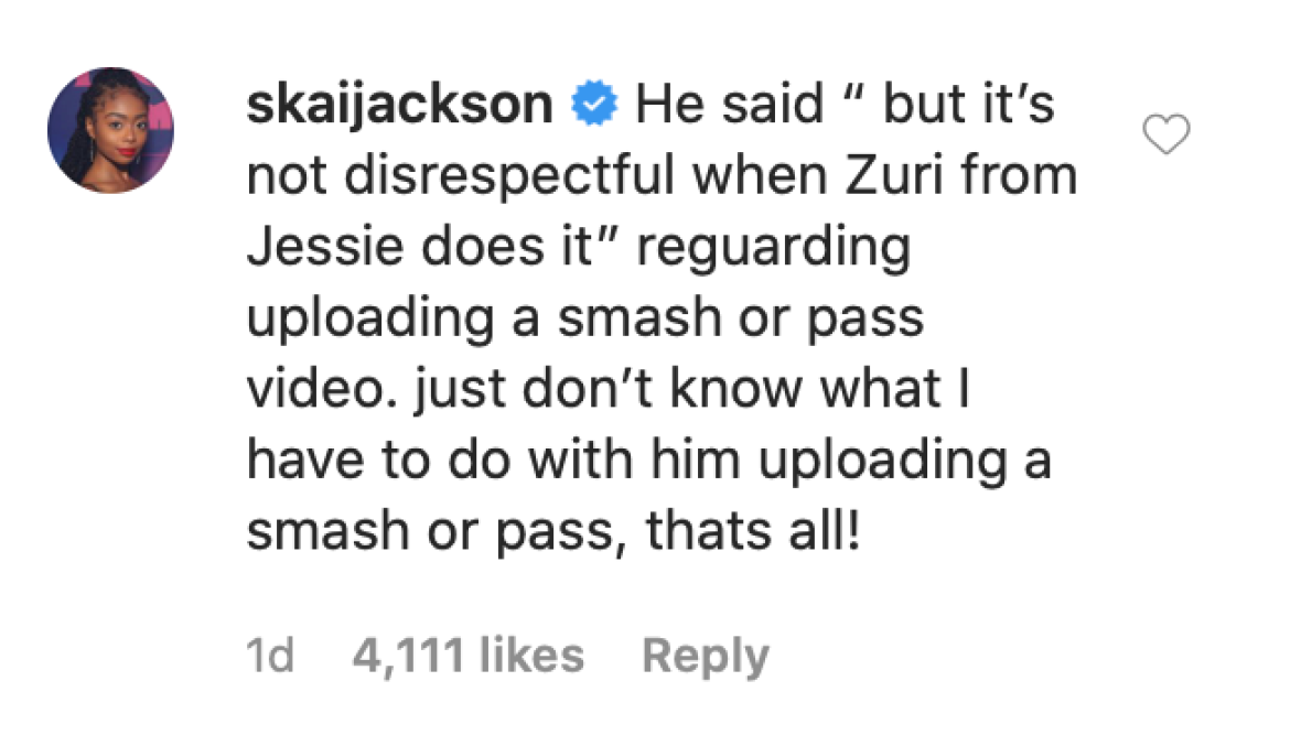 Skai Jackson Gets Into Online Feud With TikTok Star Mattia Polibio After He Slams Her Former 'Jessie' Character
