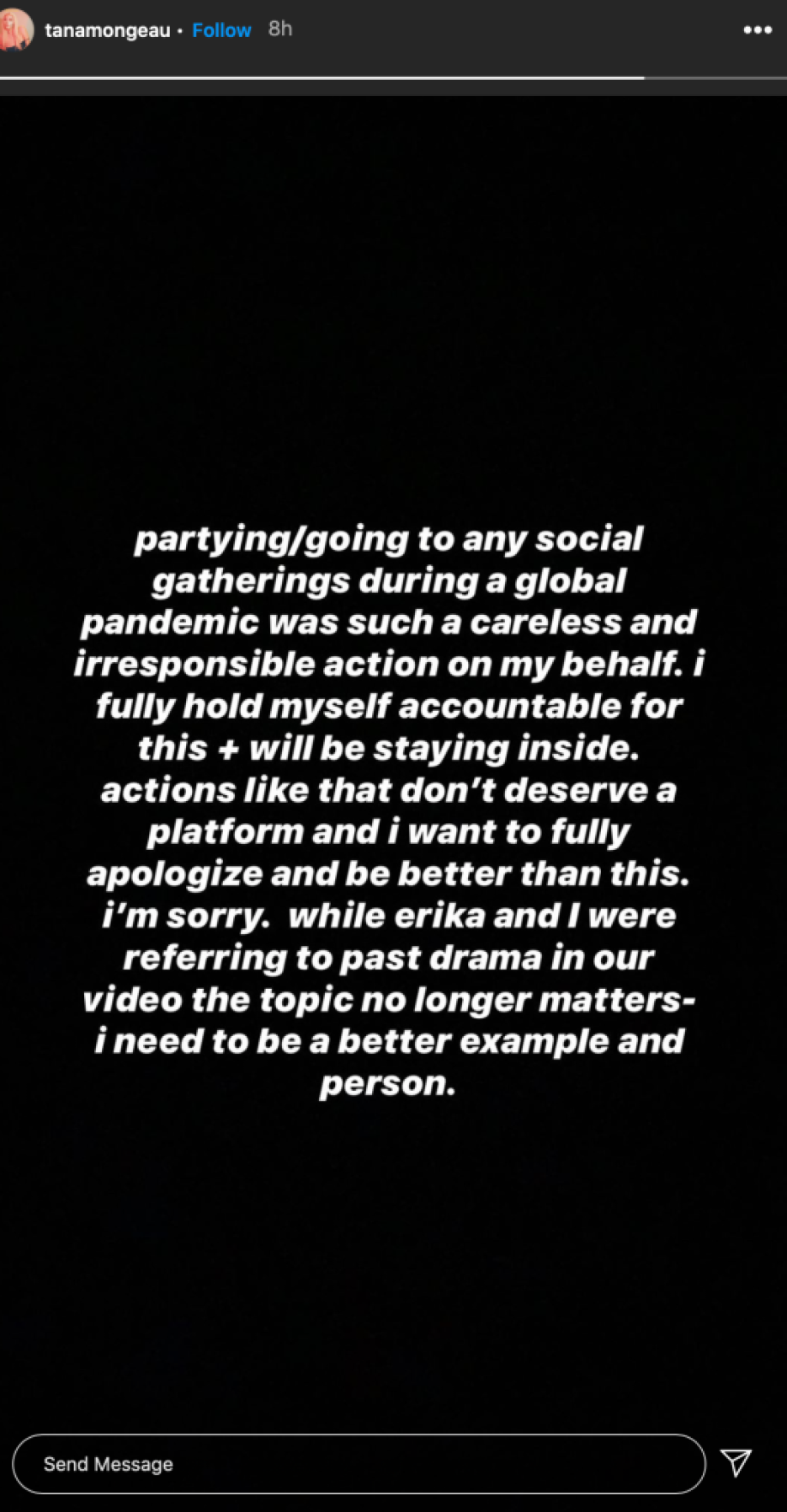 Tana Mongeau Apologizes After Coming Under Fire For Saying She 'Doesn't Care' While Partying During Coronavirus Pandemic