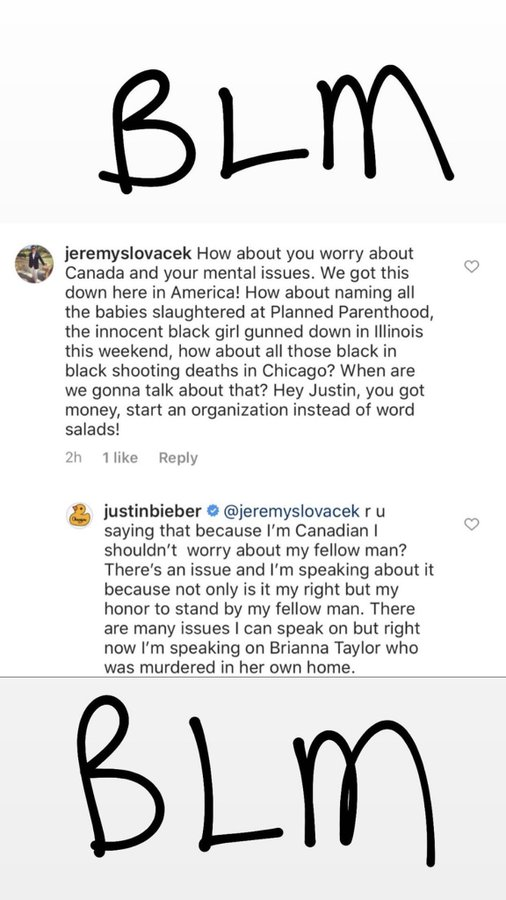 Justin Bieber Claps Back At Troll Who Slammed Him For Speaking Out About The Black Lives Matter Movement