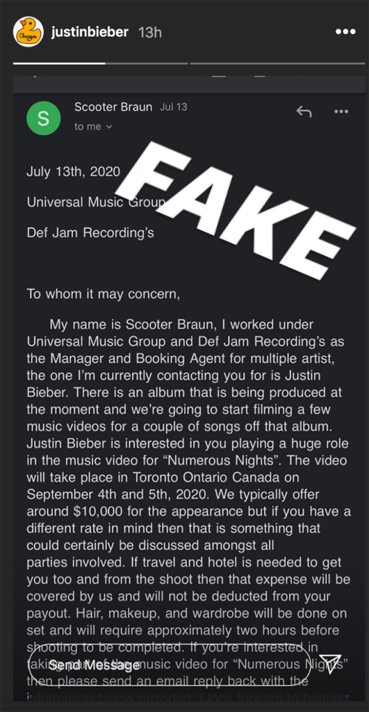 Justin Bieber Warns Fans Against Scam Email Claiming They're Filming A Music Video For Him