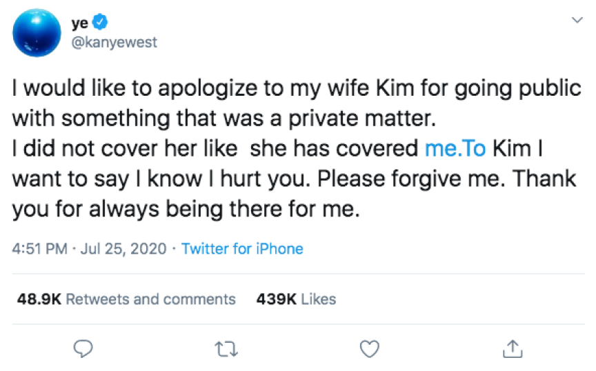 Kanye West Kim Kardashian Apology